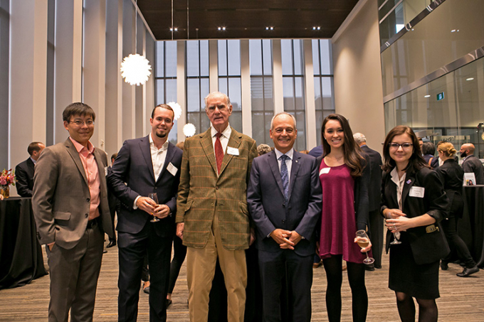 Former Ontario lieutenant-governor and former U of T chancellor Hal Jackman, third from left, and U of T President Meric Gertler attend the launch of the Campaign for Excellence without Barriers. Photo by Dhoui Chang.