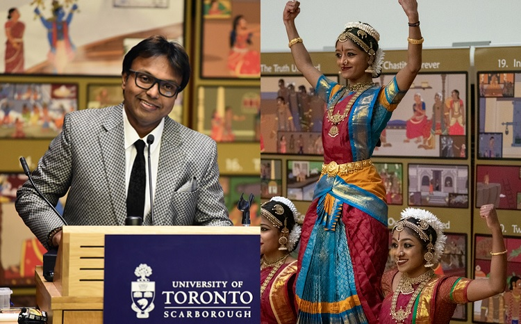 (Left) Composer D. Imman created a theme song for the Tamil chair initiative. (Right) A new dance choreographed to the song closed the event. Photos by Joseph Burrell.