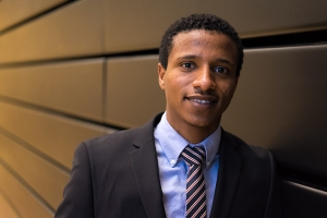 Fikremariam Gedefaw, a Mastercard Foundation Scholar from Ethiopia, studies economics and math (photo by Geoffrey Vendeville)