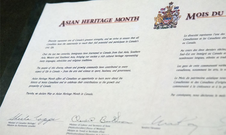 Original copy of the declaration of May as the Asian Heritage Month in Canada