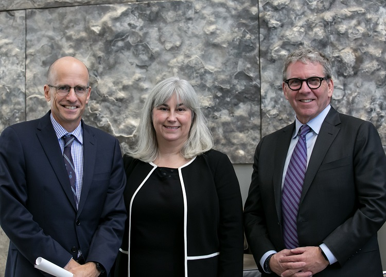 Supporting the Faculty of Law's Campaign for Excellence without Barriers: Dean Ed Iacobucci, David Asper Centre for Constitutional Rights Executive Director Cheryl Milne, and benefactor and alumnus David Asper. Photo by Dhoui Chang.