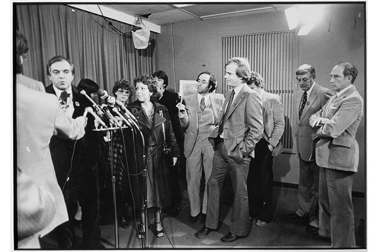 Peter Mansbridge (fourth from right) with Pierre Trudeau (far right) in 1978. Photo by Rod MacIvor.