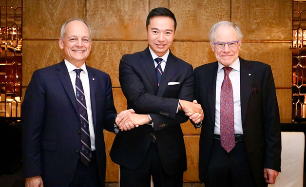Meric Gertler, President of the University of Toronto; Tenniel Chu, Vice Chairman of China's Mission Hills Group; Bruce Kidd, Vice President and Principal, University of Toronto Scarborough.