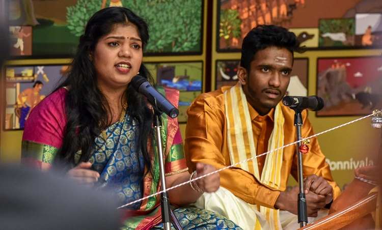 U of T Scarborough student Tharscika Ramaneekaran (at left), culture director of U of T Scarborough's Tamil Students' Association, participates in the performance of an epic story at the Tamil Heritage Month celebration. Photo by Joseph Burrell.