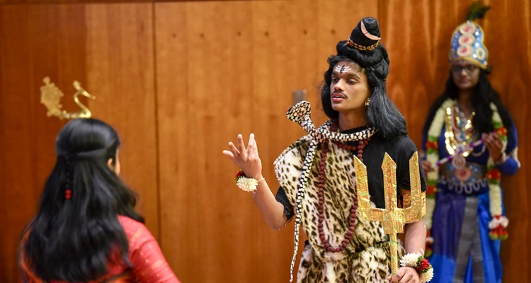Actors during a performance of The Legend of Ponnivala, an ancient Tamil folk epic. Photo by Joseph Burrell.