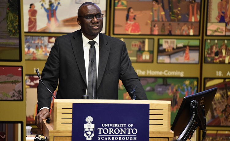 Wisdom Tettey, the vice-president and principal of U of T Scarborough, speaks during the Tamil heritage celebration. Photo by Joseph Burrell.