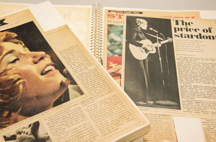Scrapbooks include clippings of every article written about Murray through her career. Photo by Noreen Ahmed-Ullah.