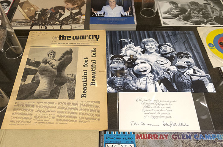 The collection includes photographs, and magazine and newspaper clippings. The photo to the right is from The Muppet Show in 1980. The collection also includes a holiday card from Bill and Hillary Clinton. Photo by Laura Pedersen.