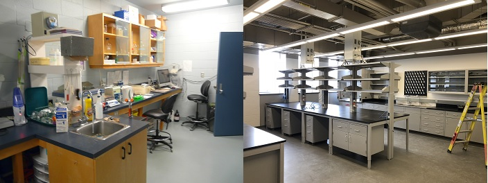 Photos of the Ramsay Wright labs, before and after LIFT renovations. Photos courtesy of Adrienne De Francesco.