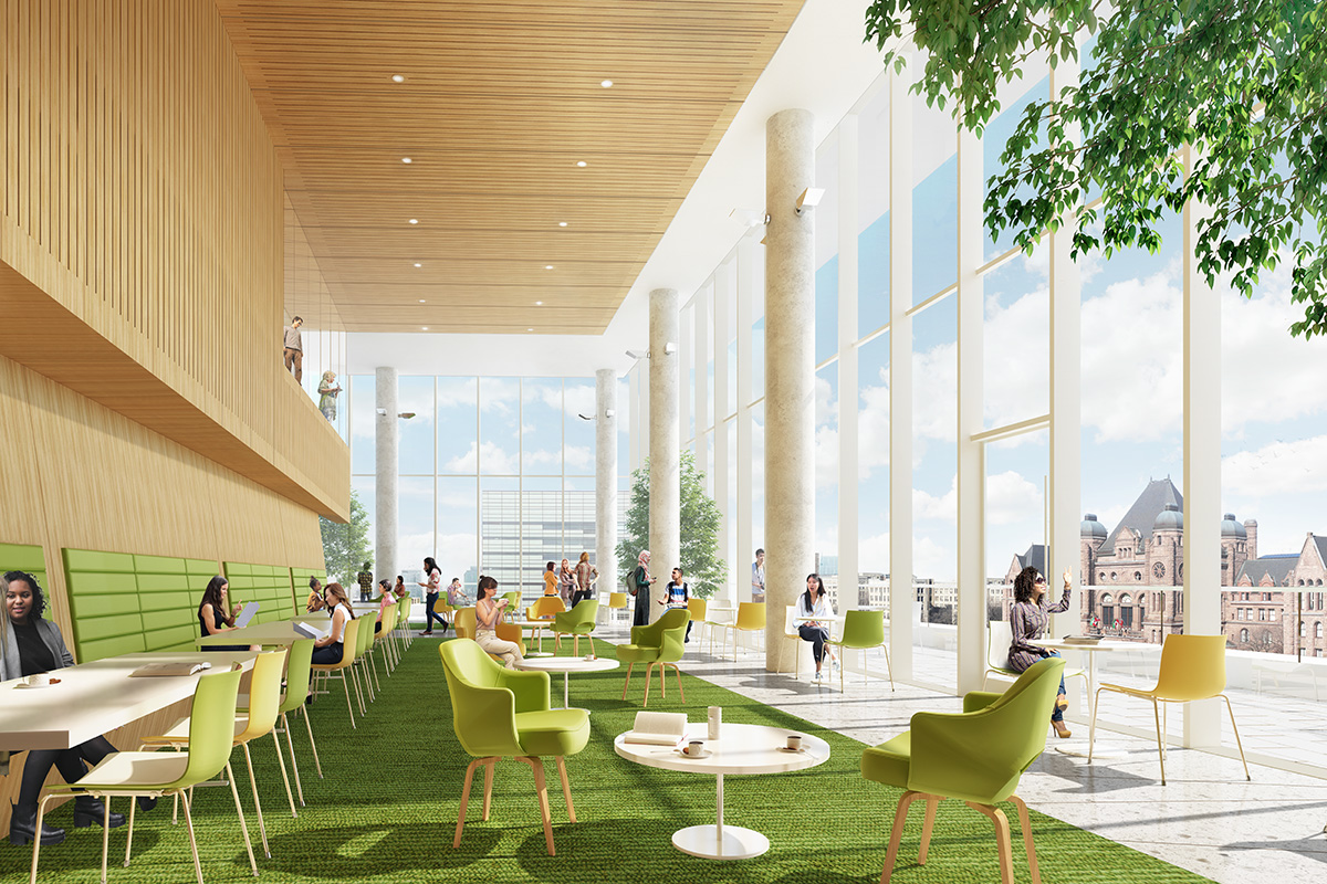 Rendering of an airy, stylish communal space with chairs and tables, overlooking Queen's Park.