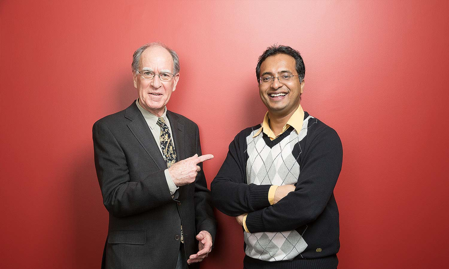 Dean David Cameron of the Faculty of Arts & Science (left) and Jaby Mathew, recipient of the 2013 Robert C. Vipond Graduate Scholarship in Political Science, to which Cameron is a donor.