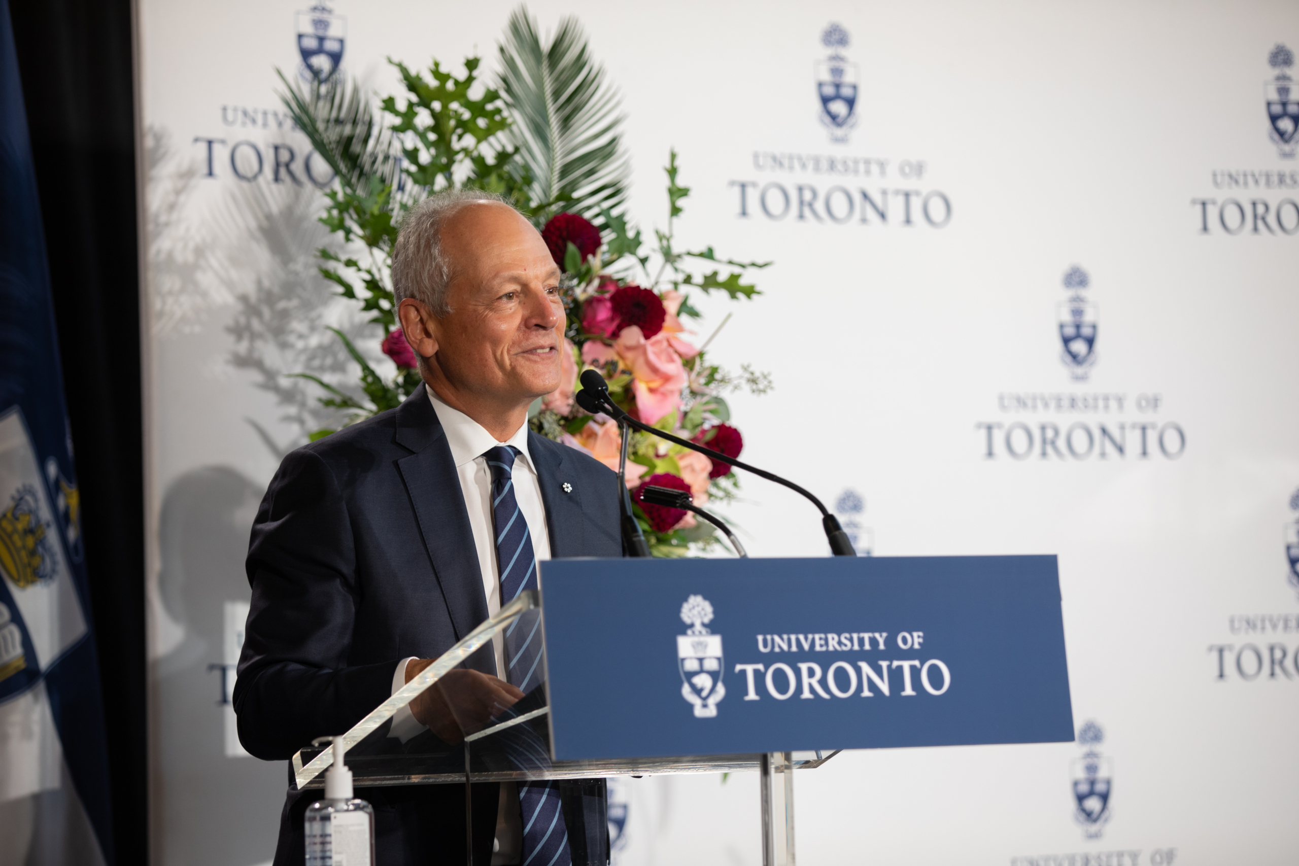 University of Toronto President Meric Gertler stands at a podium as he makes his remarks at the gift announcement event.