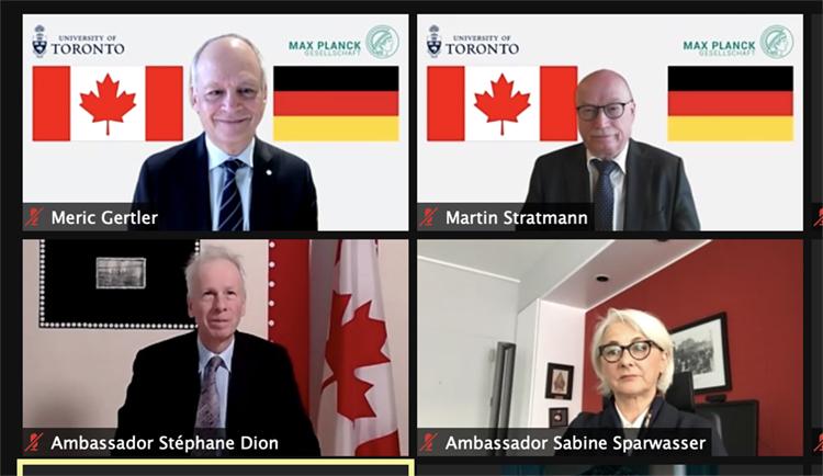 Meric Gertler, Martin Stratmann, Sabine Sparwasser and Stéphane Dion participate in a video call.