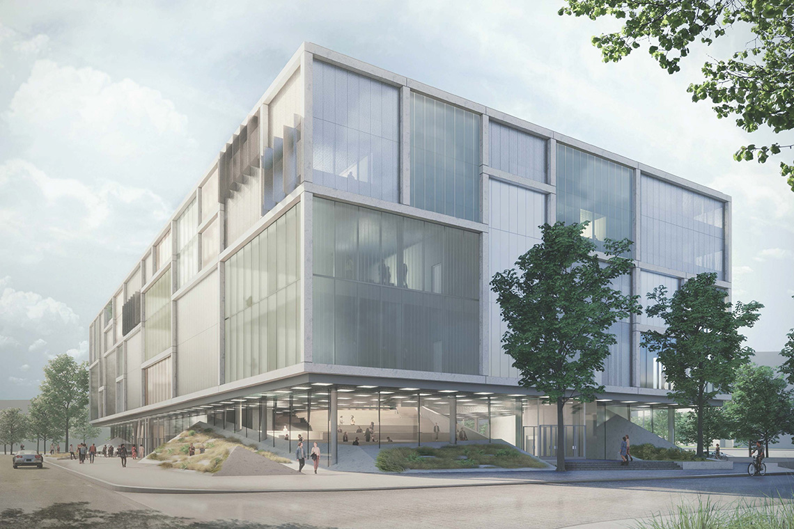 An artist's illustration of Instructional Centre 2 shows a glass-walled building with a large, sunny atrium.