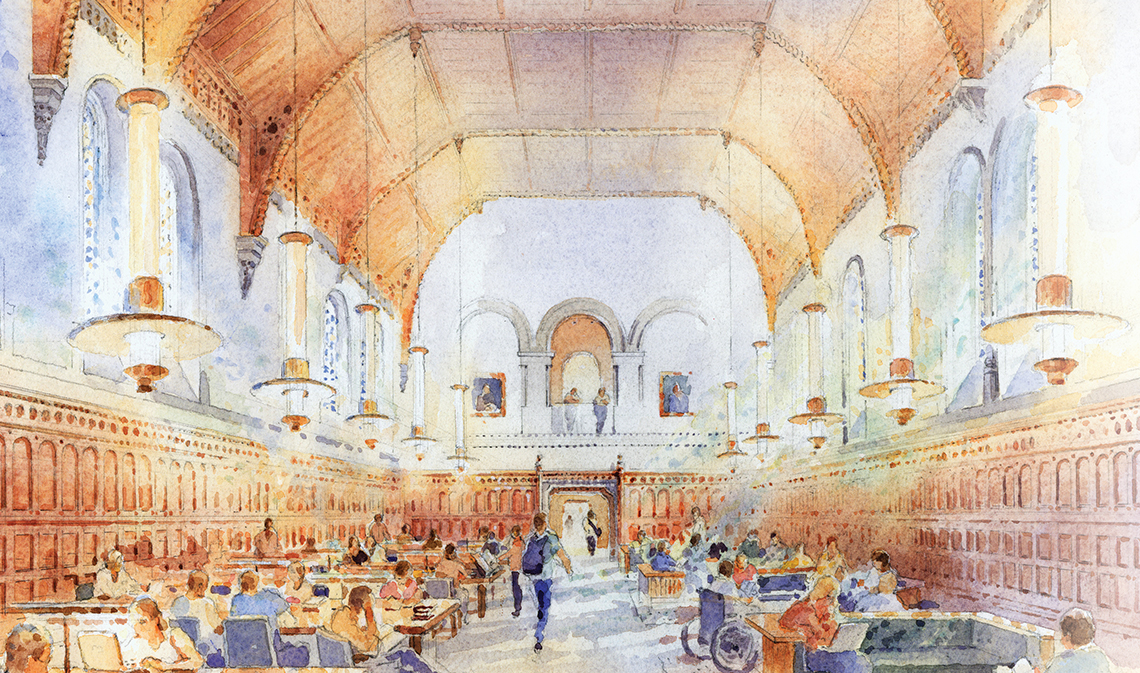 Architectural rendering of the Clark Reading Room inside University College.