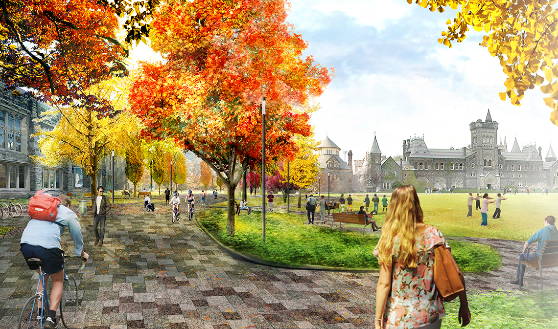 Architectural rendering of the Landmark Project, with view of the field in front of University College.
